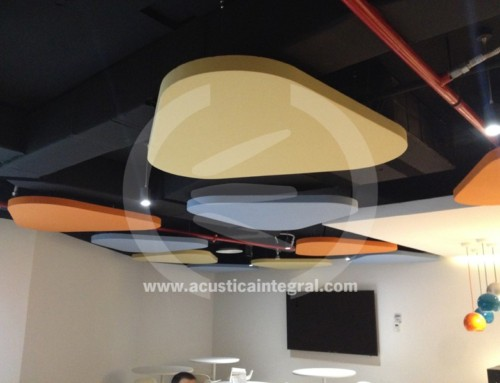 Acoustic treatment for a dining room area in offices