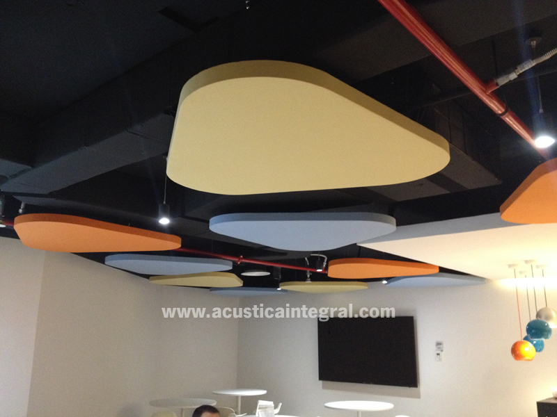 Acoustic treatment for a dining room area in offices.