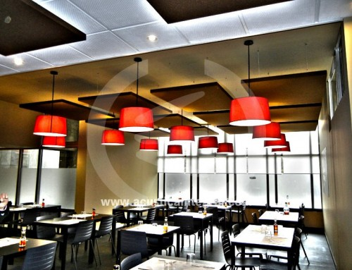 Acoustic panels for a restaurant
