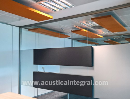 Acoustic absorbent treatment in offices