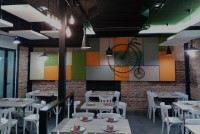 Decorative acoustic treatment in a restaurant